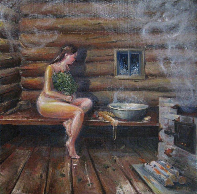 Русских тёток в бане деревенской 158