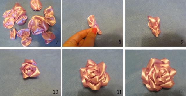 Как сделать розу из кусочков ленты