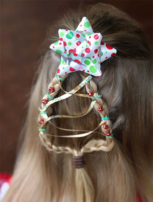 53. Елка-косичка волосы, праздник, прическа, рождество