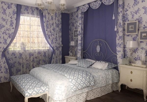 сочетание цветов в интерьере спальни серый сиреневый белый