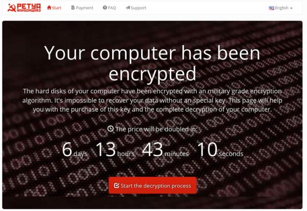 НаУкраине ивРоссии компании атаковал вирус-шифровальщик Петя