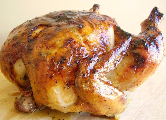 Курица с травами и в обмазке из куркумы.