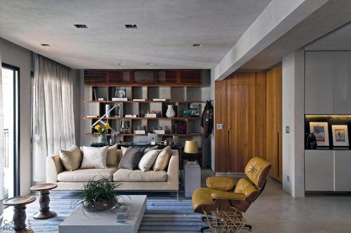 Серо-коричневый интерьер в современном стиле.