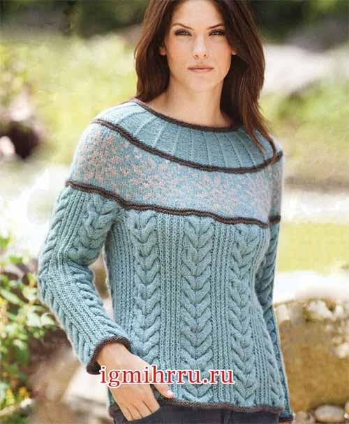 Пуловер с круглой кокеткой и косами