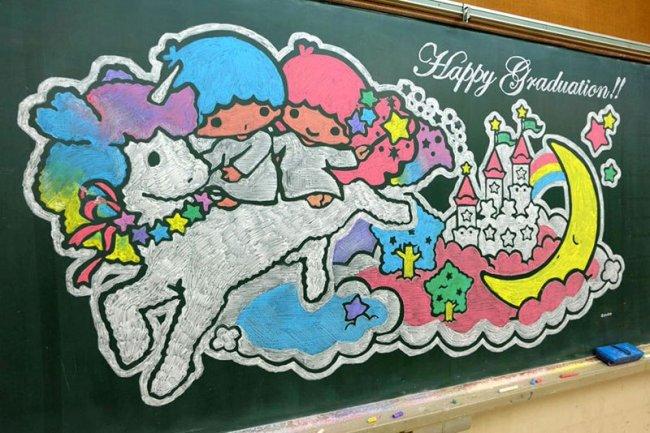 Невероятные рисунки по школьной доске (9 фото)