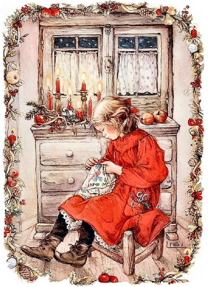 девочка с рукоделием у комода