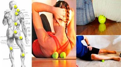 Трюк с теннисным мячом, способный избавить от боли в спине и шее