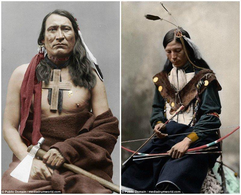 На фото слева - один из вождей шайеннов, 1877 год. Справа - боец шайеннов. аборигены, индейцы, исторические кадры, история, племена, редкие фото, сша, фото