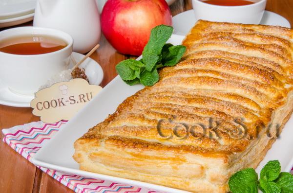 Пирог с яблоками из готового слоеного теста рецепт пошагово