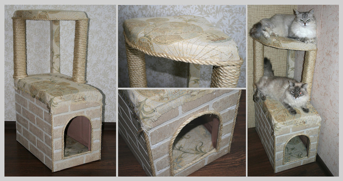 Как сделать кошкин дом из коробки своими руками