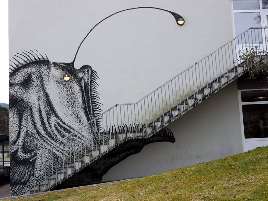 Street Artist Turns Boring Stairs Into Nightmarish Anglerfish