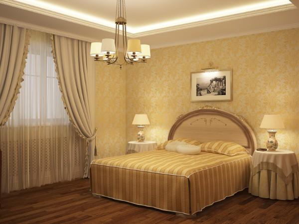 сочетание цветов в интерьере спальни жёлтый бежевый коричневый