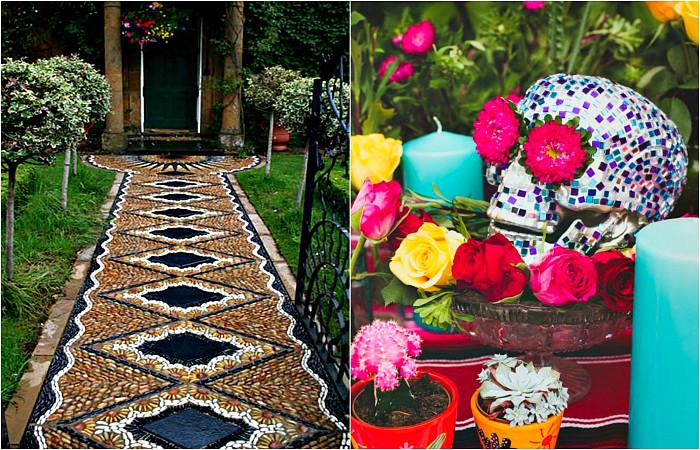 Садовые декорации, украшенные мозаикой