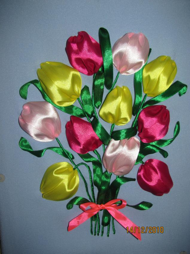 Тюльпаны из атласной ленты своими руками