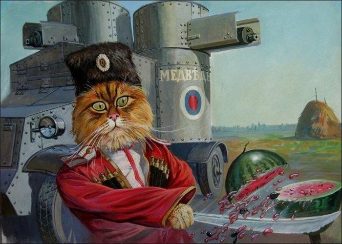 Храбрые  коты российского художника Александра Завалий
