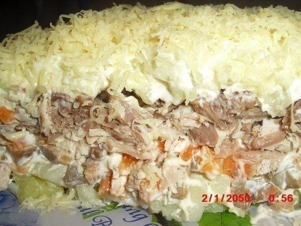 Сытный салат с мясом и грибами. Моей семье нравится!