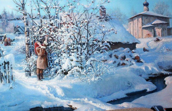 Такая снежная и уютная зима кисти Владимира Жданова. Эх, нам бы такую сейчас!