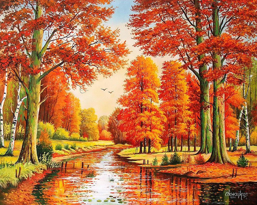 Осень польского художника Czeslaw Szwajkosz