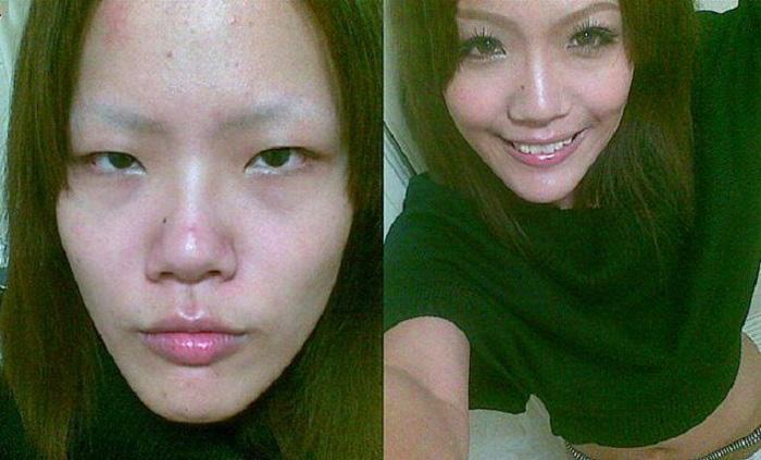 18 девушек-азиаток до и после макияжа
