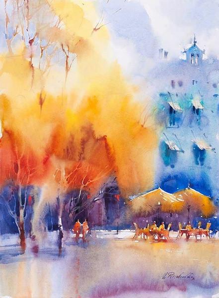 Размытые краски осеннего пейзажа. Художник Виктория Пришедько