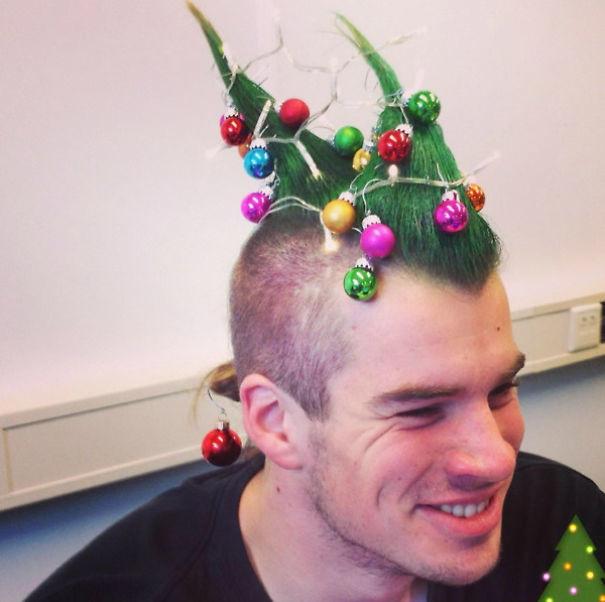 38. Рождественский ирокез волосы, праздник, прическа, рождество