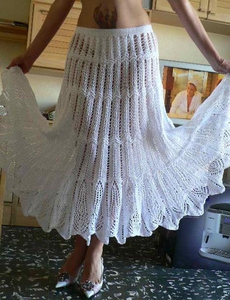 Нарядные летние юбки спицами