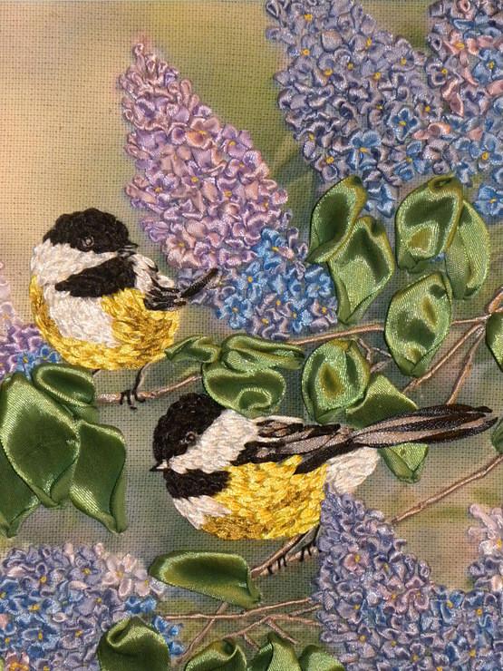 Схема вышивки лентами птиц 75