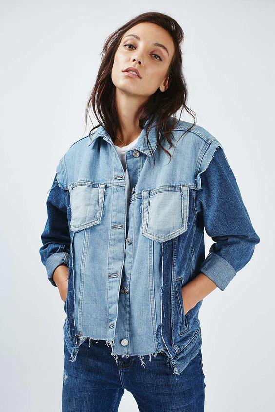 куртки джинсовки из кусков и кусочков