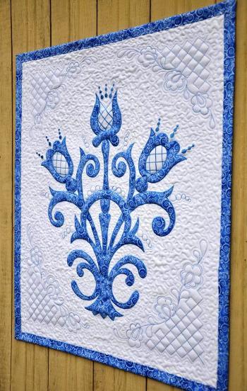 Машинная вышивка и пэчворк — создаем текстильное панно в стиле «гжель»(МК)