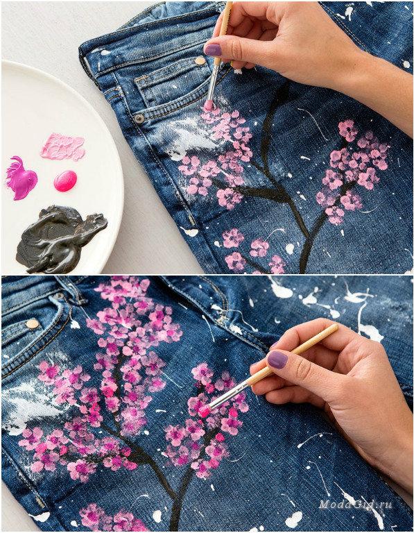 Как украсить джинсовую юбку своими руками
