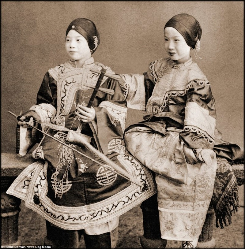 Юные певицы, Гонконг, 1901 год Цин, китай, фотография, эпоха