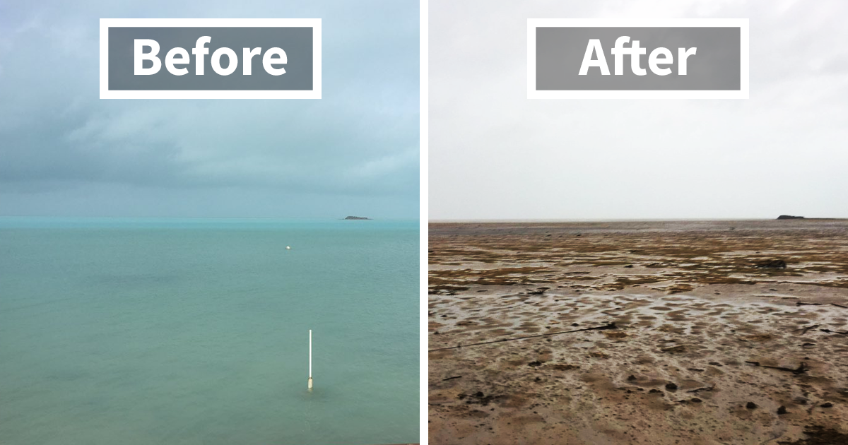 Irma Makes The Ocean Disappear From Florida And Bahamas Beaches And It's Terrifying