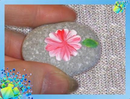 Роспись по камням галька цветы рисовать на камнях