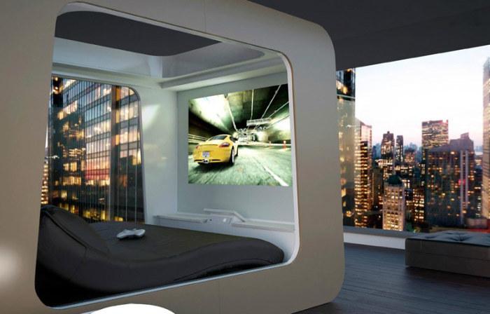 Современная модель кровати со встроенной плазмой.