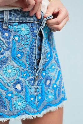 Вышивка на джинсе подборкой