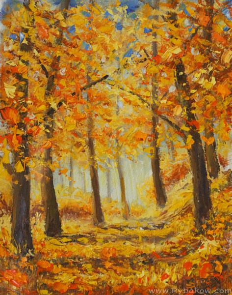 "Картина: ""Прогулка по золотому осеннему лесу"" холст, масло, мастихин"