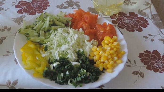 Очень вкусный постный салат