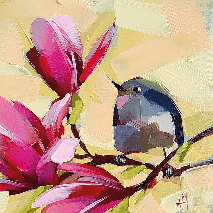 От работ этой художницы так и веет теплом и добротой - яркие цветы и птицы Анжелы Моултон