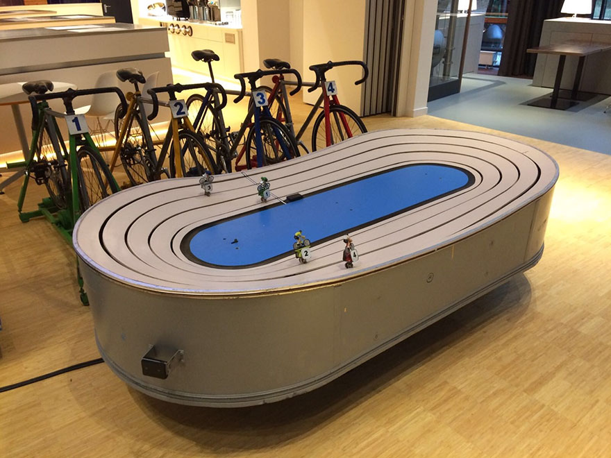 Somebody Built A Table That Lets You Race Against Each Other On Bicycles