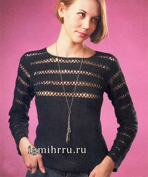 Элегантный черный пуловер крючком