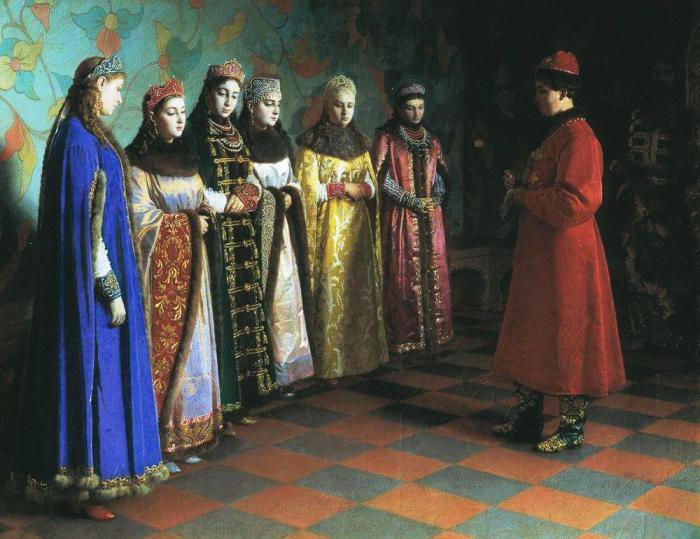 Выбор невесты царём Алексеем Михайловичем. Седов Г.С., 1882 год.