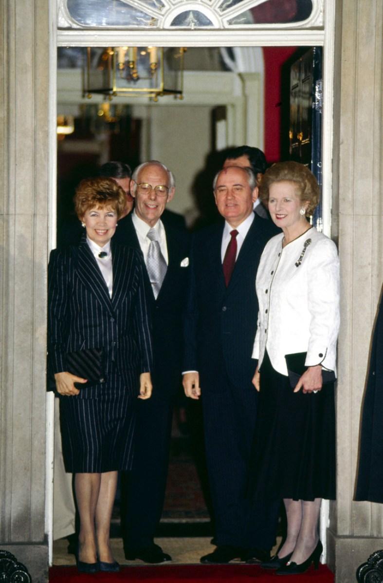 Russian President Mikhail Gorbachev Visits British Prime Minister Margaret Thatcher