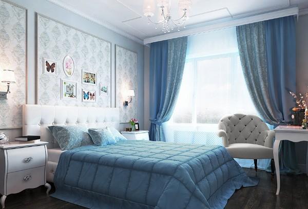 сочетание цветов в интерьере спальни белый голубой коричневый