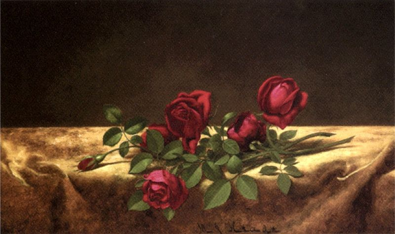 File:Martin Johnson Heade - 'Roses Lying on Gold Velvet', oil on canvas, c. 1883-1900,.jpg