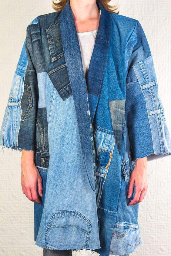 Джинсовые пэчворк - пальто
