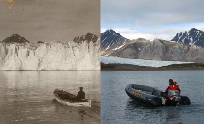 Как тает Арктика: впечатляющее сравнение кадров XX века и современных