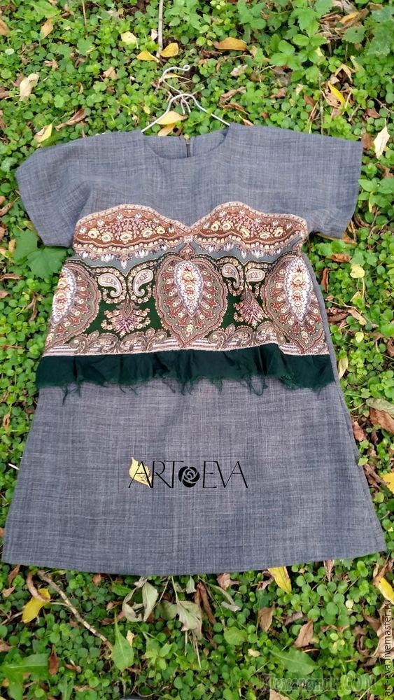 Шьем обновку — платье-тунику с отделкой из павловопосадского платка