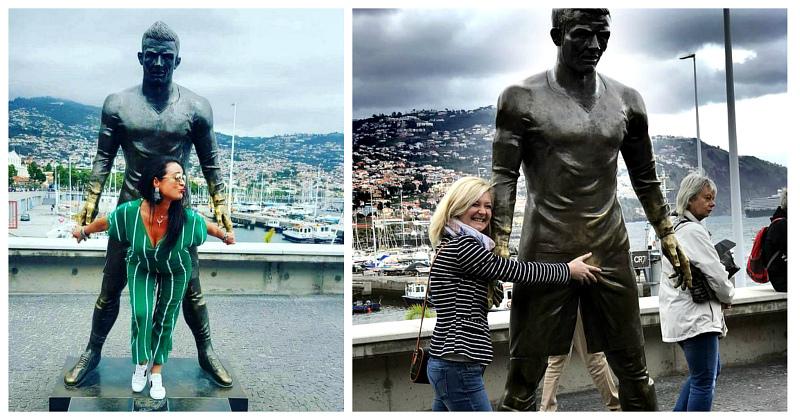 Скульптуре Криштиану Роналду в Португалии отполировали до блеска одно место