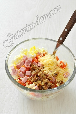 Салат из ветчины с шампиньонами фото 3