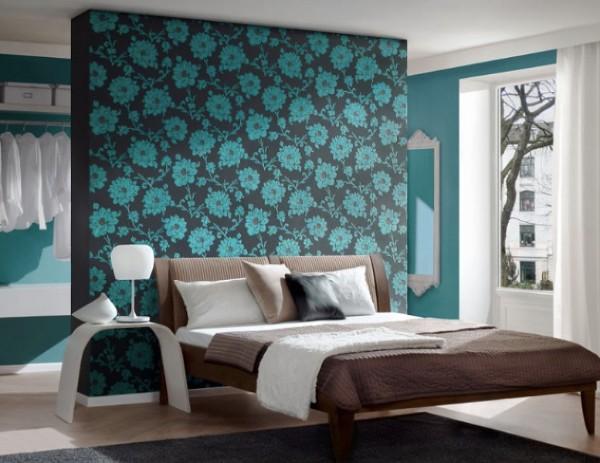 сочетание цветов в интерьере спальни бирюзовый с коричневым